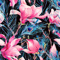 Seamless Pattern with Magnolia and Peacock Feather Royalty Free Stock Photo
