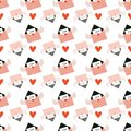 Seamless pattern with mails in an envelope with angel wings and red heart shape