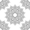 Seamless pattern mandala ornament. Floral mandala. Vintage decorative elements. Hand drawn oriental background. Floral