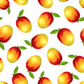 Seamless pattern with mango fruit. Vector illustration. Royalty Free Stock Photo