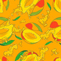 Seamless pattern with mango Royalty Free Stock Photo