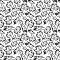 Seamless pattern with maple leaves black silhouettes of on a white background Royalty Free Stock Photos