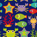 Seamless pattern with marine animals on a dark blue background Royalty Free Stock Photo