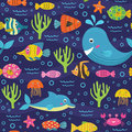 Seamless pattern with marine animals