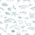 The seamless pattern of marine animals.