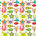 Seamless pattern with marine animals on a white background Royalty Free Stock Photos