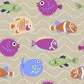Seamless pattern with marine fish with waves Royalty Free Stock Photo