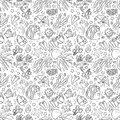 Seamless pattern with marine life: jellyfish, fishes, corals, seaweed, bubbles and stars. Hand draw art Royalty Free Stock Photo