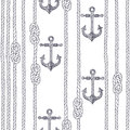 Seamless pattern with marine rope, knots and anchors on a white