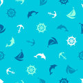 Seamless pattern on the marine theme. Anchor, dolphin, steering Royalty Free Stock Photo