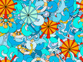 Seamless pattern on the marine theme.  Hand-drawn doodles waves and objects. Royalty Free Stock Photo