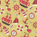 Seamless pattern on the marine theme with a lighthouse ships sailboats anchor oars wheel and bottle with a message eps Royalty Free Stock Image