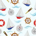 Seamless pattern on marine theme with sailboats. Vector illustration.