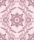 Seamless pattern with mauve bells in the deciduous oval on a pink background Stock Photos