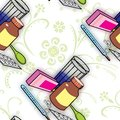 Seamless pattern with medications for colds and flu Stock Photos