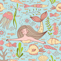 Seamless pattern with mermaid, fishes, coral, shell, seahorse and seaweeds. Royalty Free Stock Photo