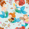 Seamless pattern from mermaid girls with treasures on white Stock Photography