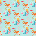 Seamless pattern with mermaid.