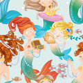 Seamless pattern with mermaids with jewelry playing Stock Photos