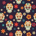 Festive seamless pattern Mexican Day of Dead with sugar skull. flowers. Royalty Free Stock Photo