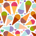 Seamless pattern with mint raspberry chocolate Ice cream waffle cone, pastel colors black polka dot white background with hearts. Royalty Free Stock Photo