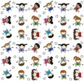 Seamless pattern mixed children background with ethnic happy Royalty Free Stock Photography
