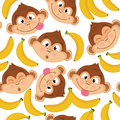 Seamless pattern with monkey face Royalty Free Stock Photo