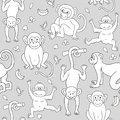 Seamless pattern with monkeys, bananas and leaves.