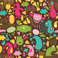 Seamless pattern with monsters Royalty Free Stock Photography