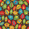 Seamless pattern with monsters autumn leaves vector doodle texture Stock Photo