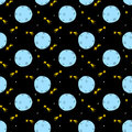 Seamless pattern with moon and stars