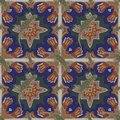 A seamless pattern, in Moroccan design, made of Moroccan tiles, with a salamander. Royalty Free Stock Photo
