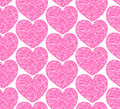 Seamless pattern with mosaic hearts decorative scribble texture Royalty Free Stock Image