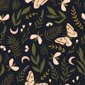 Vector seamless pattern with moths and night butterfly. Beautiful romantic print. Dark botanical design.