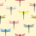 Seamless pattern with multi-colored dragonflies. Vector illustration. Royalty Free Stock Photo