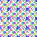 A seamless pattern with multicolor paint splashes and black cracks on a white background
