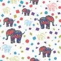 Seamless Pattern of multicolored elephants elephants. Background Children`s pattern. Background of cute elephants. doodle style.