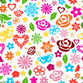 Seamless pattern of multicolored flowers leafs stars butterflies and hearts on white background Stock Photography