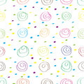 Seamless pattern of multicolored spirals and dots Royalty Free Stock Photo