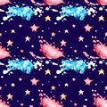 Seamless pattern with multicolored watercolor blots and stars