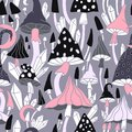 Seamless pattern with mushrooms, diamonds and heavenly body. Amanita seamless pattern in black and white monochrome shades. Vector Royalty Free Stock Photo