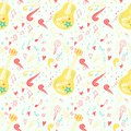 Seamless pattern with music elements. Country music style