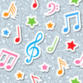 Seamless pattern with music notes and stars