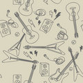 Seamless pattern with musical instruments Royalty Free Stock Photo