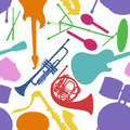 Seamless pattern of musical instruments colorful on a white background Royalty Free Stock Image