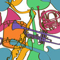 Seamless pattern of musical instruments colorful on a white background Stock Image