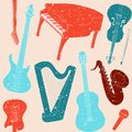 Seamless pattern with musical instruments grunge silhouettes Stock Image
