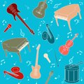 Seamless pattern with musical instruments and note symbols Royalty Free Stock Images