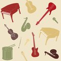 Seamless pattern with musical instruments silhouettes Stock Photography