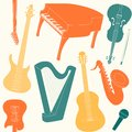 Seamless pattern with musical instruments silhouettes Royalty Free Stock Photography